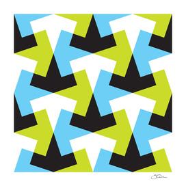 Geometric pattern with black, green & blue.