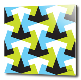 Geometric pattern with black, green & blue.
