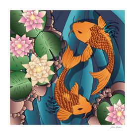 Koi fish swimming 2