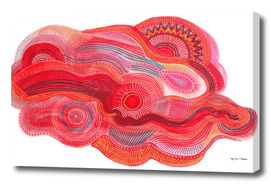 zentangle red flow