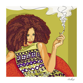 Smoking Woman - Green Wall