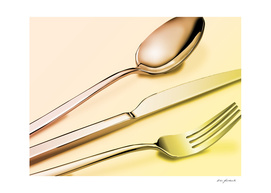 Silverware in Red and Yellow