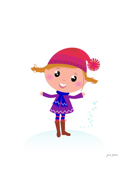 Cute handdrawn girl : Purple on white