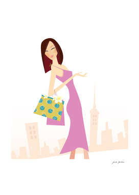 "Hand drawn cute ""Shopping girl"" on white"