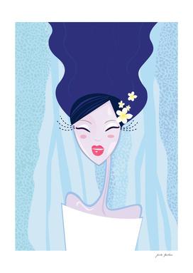 """Water"" Geisha Original art Illustration / BLUE"