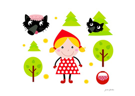 "Hand drawn cute ""Red riding Hood"""