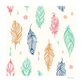 Boho feathers pattern