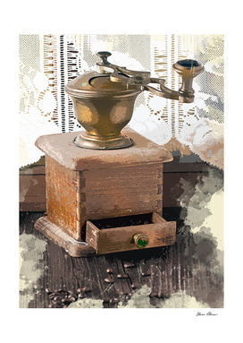 Vintage Lace Curtains and Coffee Grinder