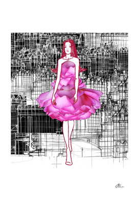 Rose Dress fashion Illustration.