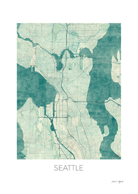 Seattle Map Blue
