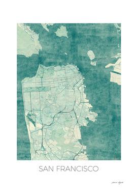 San Francisco Map Blue
