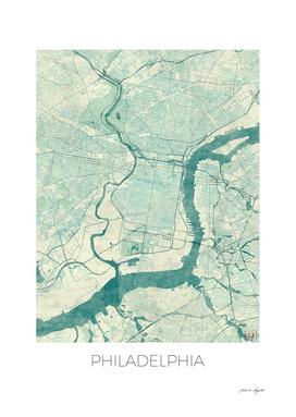 Philadelphia Map Blue