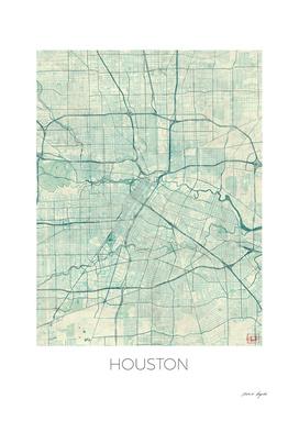 Houston Map Blue