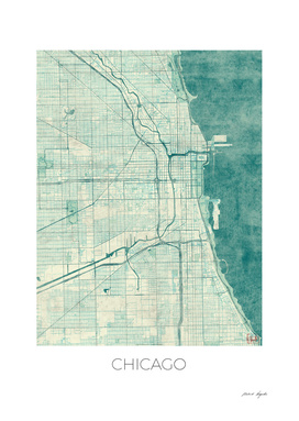 Chicago Map Blue
