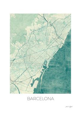 Barcelona Map Blue