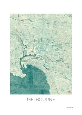 Melbourne Map Blue