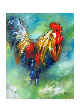 Colorful rooster on green background