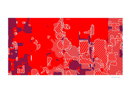 graffiti geometric drawing abstract in red and blue