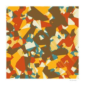 geometric graffiti abstract in brown yellow blue and orange