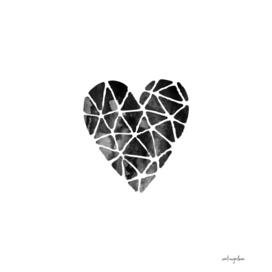 Watercolor Heart in Black