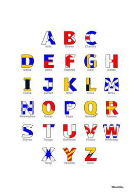 Navy Alphabet - Nautical Flag Code - All Letters