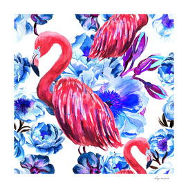 Flamingo in flowers of peonies