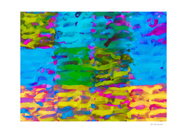 psychedelic painting abstract in blue yellow green pink