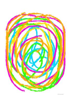 graffiti circle abstract in pink blue green orange yellow