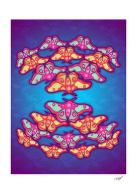 Converging Polyphemus Moths in Neon