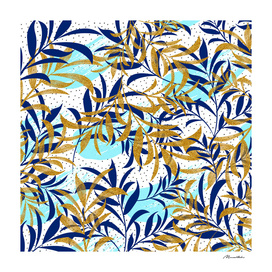 Pattern of gold and blue leaves