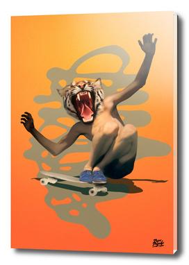 Vintage Urban Skate Tiger Boy Pepe Psyche Sun