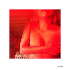 Girl in sauna - polaroid