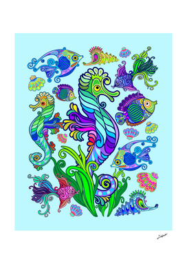 Marine Life Exotic Fishes & SeaHorses Ornamental Style
