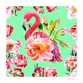 Pink flamingos with peony flowers