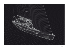 Wireframe Sailboat BW
