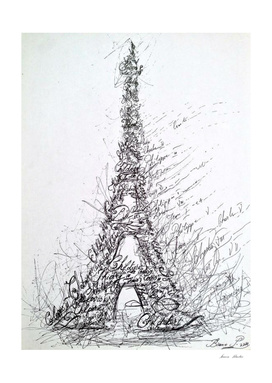 Calligraphy Eiffel Tower