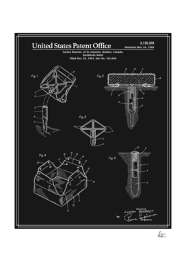 Baseball Base Patent - Black