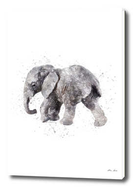 Elephant watercolor art