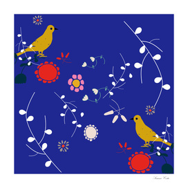 yellow bird blue