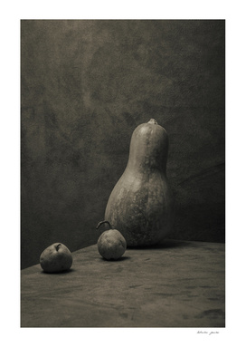 Still life with pumpkin and pears without a name
