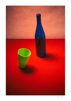 Very simple still life with blue bottle