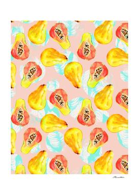 Watercolor pattern of papayas