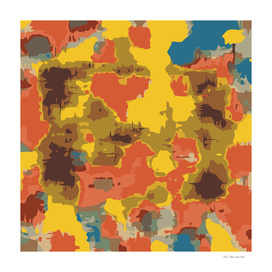 psychedelic geometric painting abstract in orange yellow