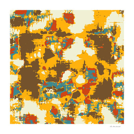 psychedelic geometric painting abstract in yellow brown