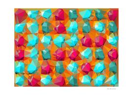 geometric polygon abstract pattern in orange pink green