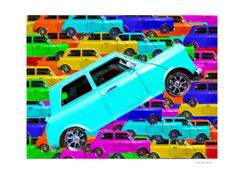 colorful vintage classic car toy pattern background