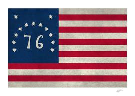 USA Bennington Flag in Vintage Stone texture