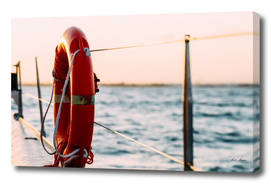 Red Life Buoy On Cruise Ship