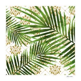 Leaf on ornamental gold pattern