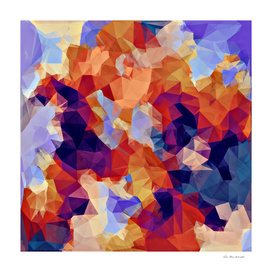 psychedelic geometric polygon abstract in orange brown blue